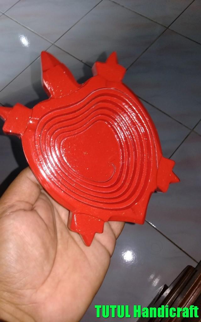 Asbak Unik KAYU MAHUNI Model Kura Kura Merah 01