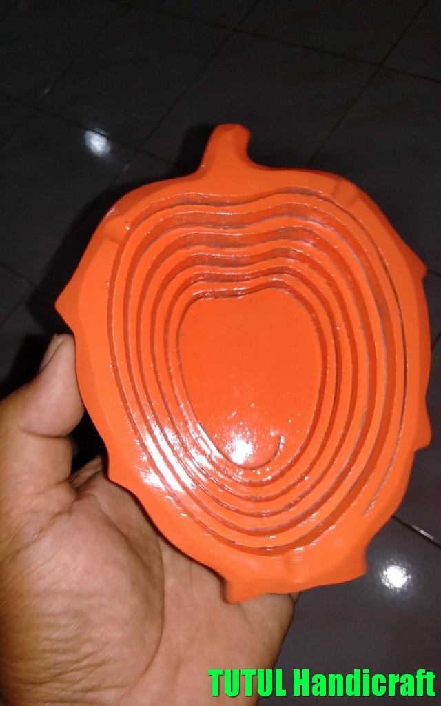 Asbak Unik KAYU MAHUNI Model Mangga Orange 01