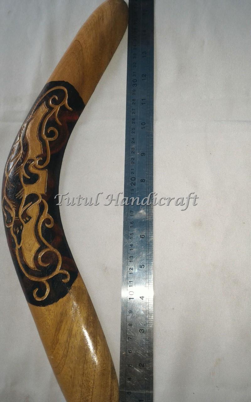 Bumerang KAYU MAHUNI Motif Curving 1