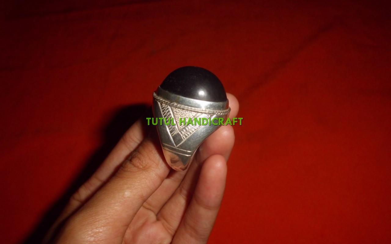 Cincin perak batu FOSIL GALIH KELOR size jumbo 2,5 cm