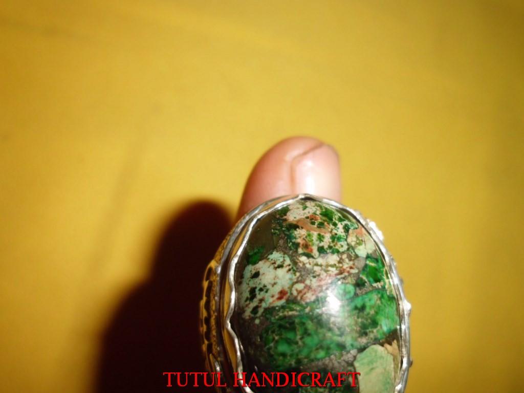 Cincin Perak batu PIRUS VARISCHITE HIJAU besar perak ukir lafal