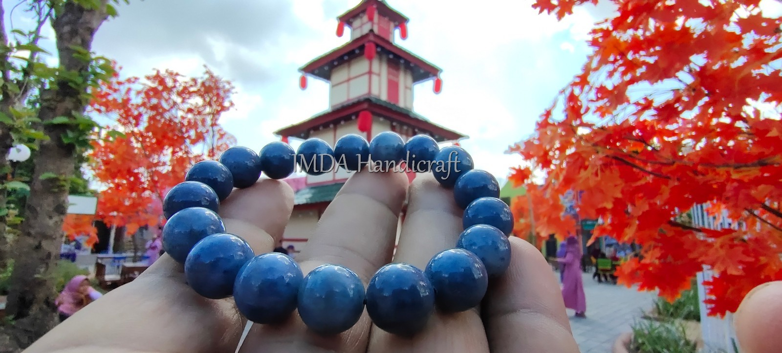 Gelang Laris BATU BLUE CORAL Kwalitas Super 10 mm