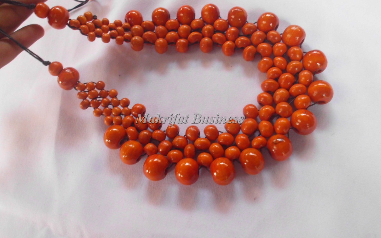 Kalung Etnik KAYU KOPI Model Buan Warna Orange  01
