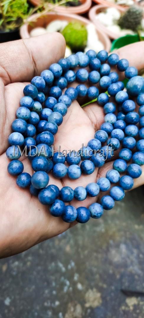 Kalung Tasbih Alami Budha Japamala BATU BLUE CORAL 108 Biji 6 mm