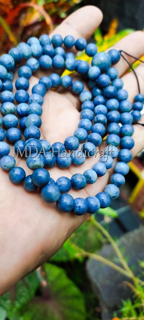 Kalung Tasbih Karomah Budha Japamala BATU BLUE CORAL 108 Biji 6 mm