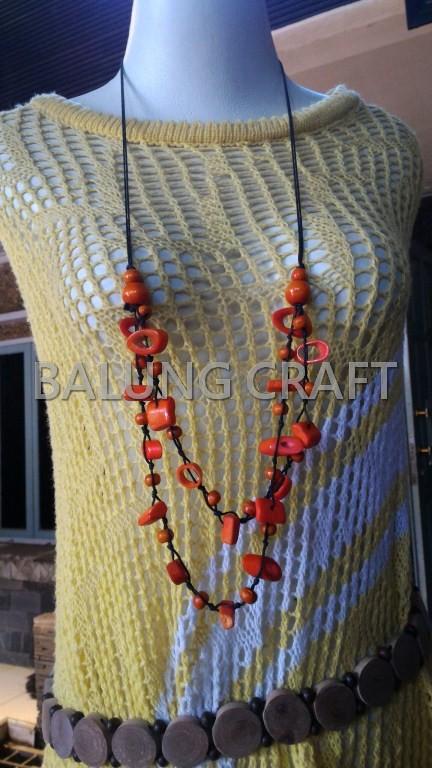 Kalung Etnik TULANG SAPI Model Rumbi Warna Orange 01