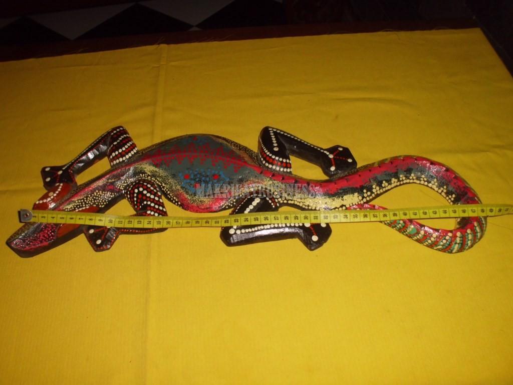 Patung CICAK KAYU panting panjang 50 cm model 02