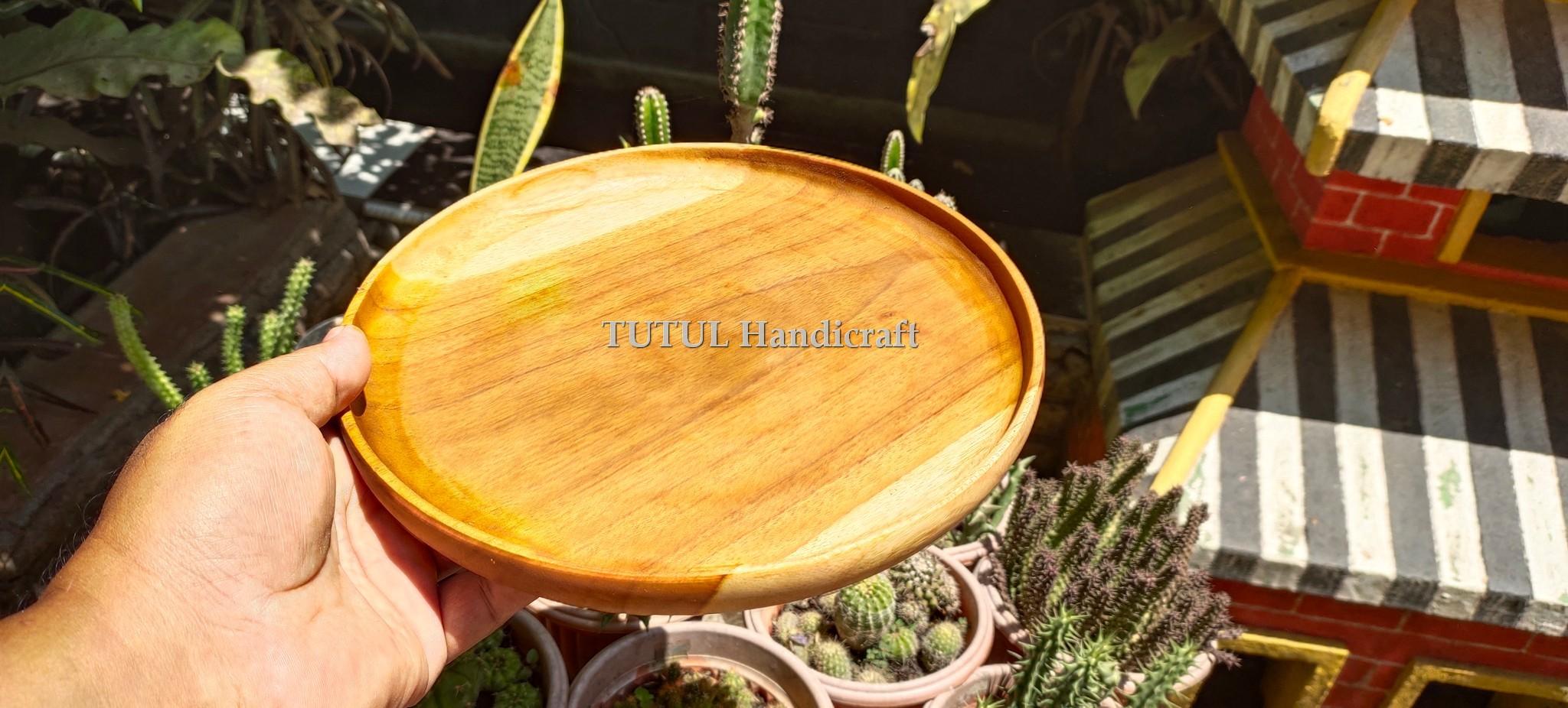 Piring Bulat  Ceper Kayu Jati 30  x 2.5 cm