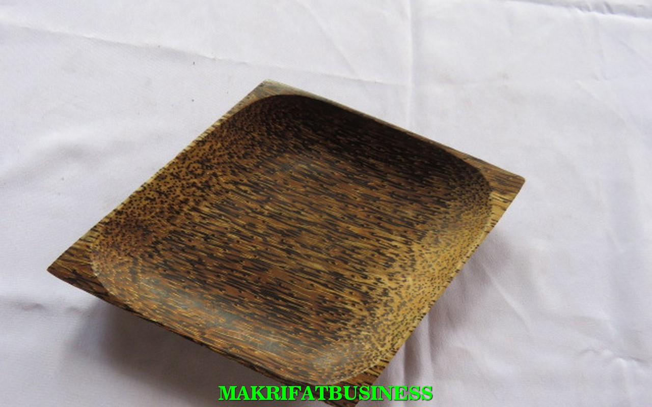 Piring KAYU AREN Model Wajik 25 x 17 cm Paket 12 Pcs