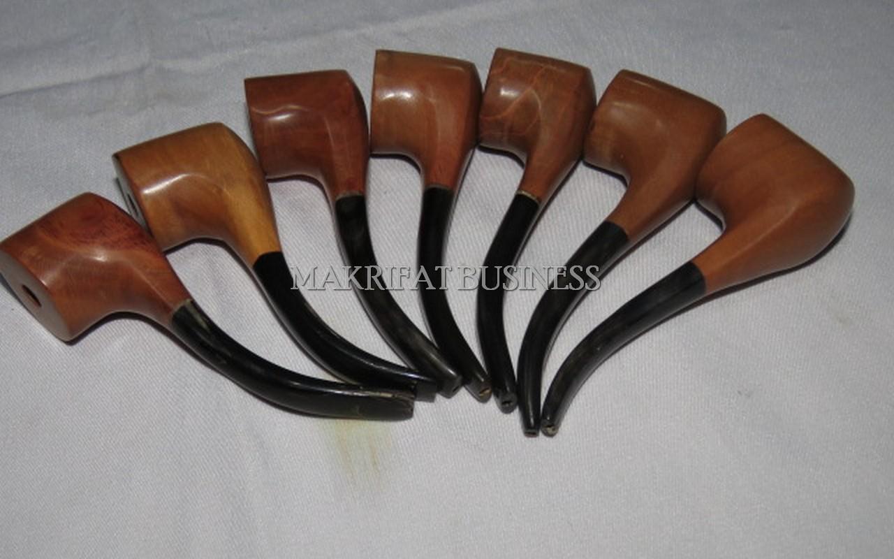Pipa Rokok Cangklong KAYU STIGI LAUT Kombinasi Tanduk Sapi  Model 01 Paket 7 Buah