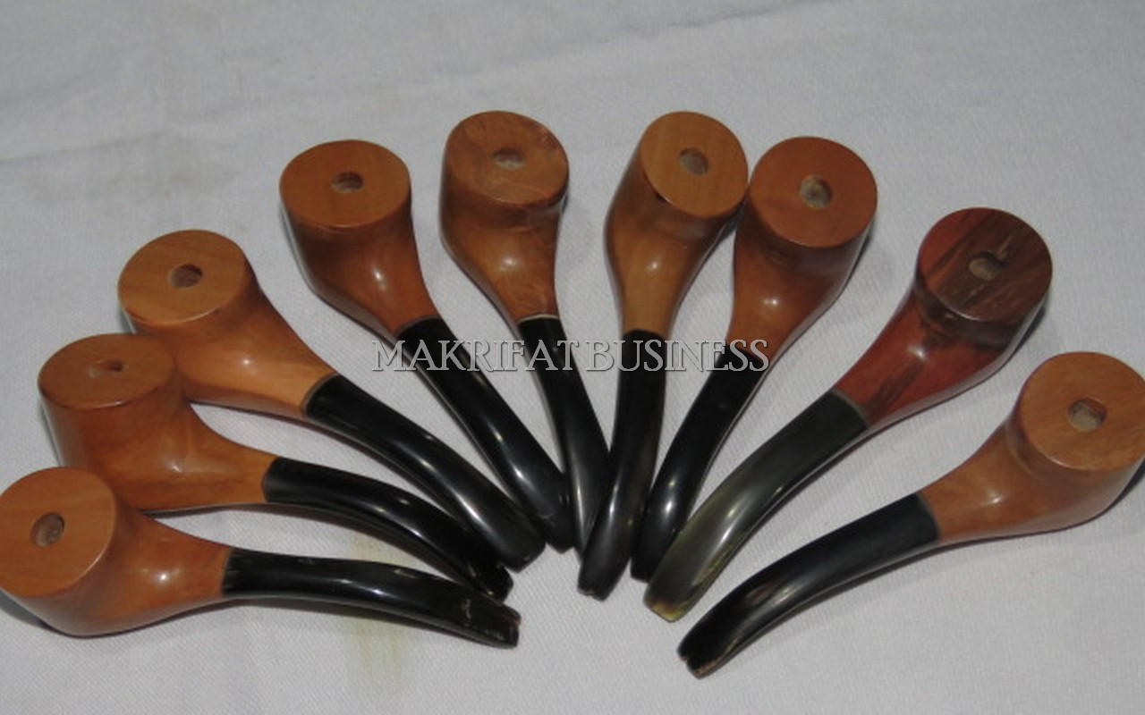 Pipa Rokok Cangklong KAYU STIGI LAUT Kombinasi Tanduk Sapi  Model 01 Paket 9 Buah
