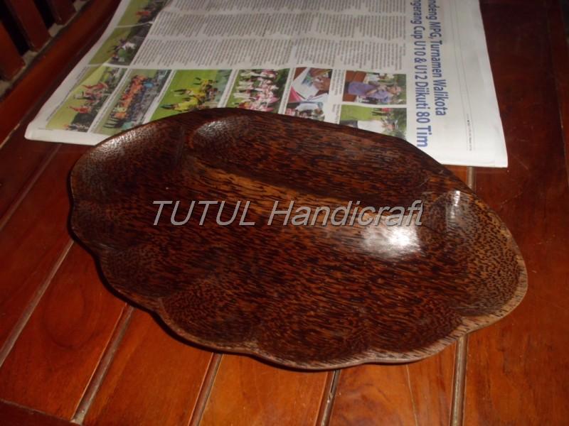 Piring Nampan  KAYU AREN Model KERANG  lapis antigores model 01